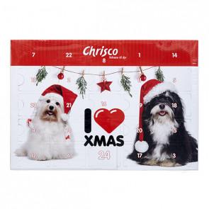 Julekalender til hunde med lækre godbidder og tyggeting.