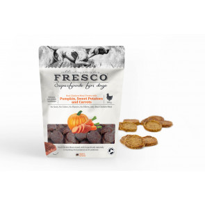 Fresco Chicken Treats with Pumpkin, Sweet Potatoes and carrots - kyllingegodbidder med græskar, søde kartofler og gulerødder, 100 g ℮
