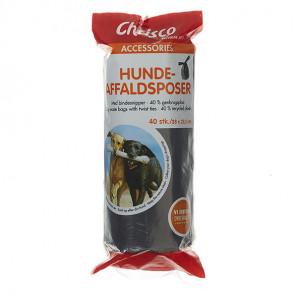 Chrisco Hundeaffaldsposer i 40 % genbrugsplast med bindesnipper, 40 stk.